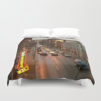nashville Duvet Covers featuring Nashville Lights ii by Long Mountain Prints