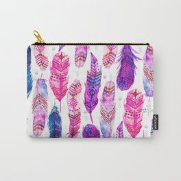 Watercolor Pink Blue Feathers V.02 Carry-All Pouch