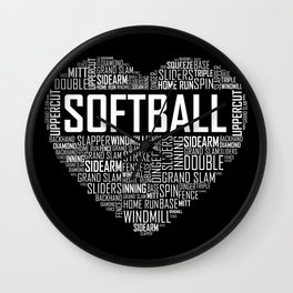 Softball Heart Love Wall Clock
