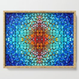 Inner Vision - Colorful Spiritual Abstract Art By Sharon Cummings Serving Tray