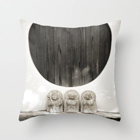 Jizo in Black and White, Kyoto Throw Pillow