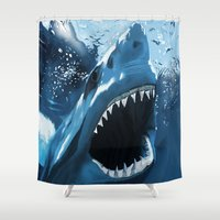 jaws Shower Curtains featuring Jaws by Dano77