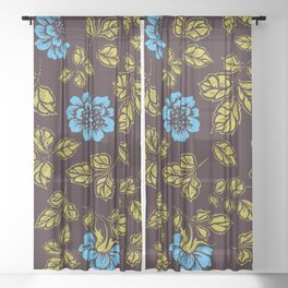 Garden of roses in blue Sheer Curtain