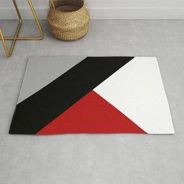 Black diagonal stripe with triangles Rug
