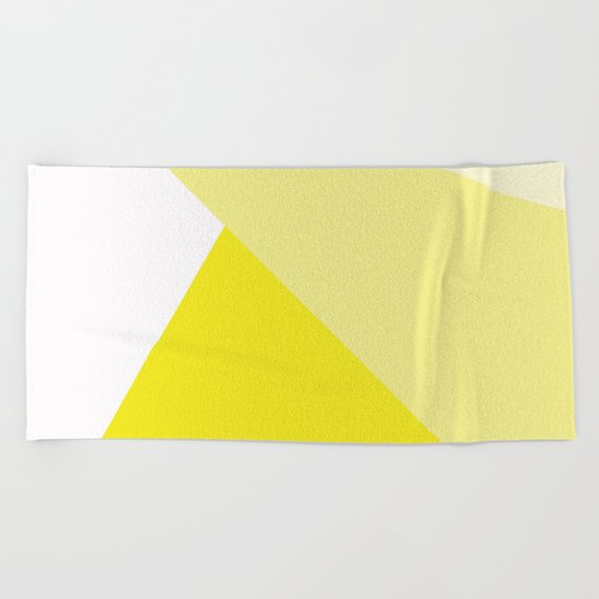 Simple Geometric Triangle Pattern- White on Yellow - Mix & Match with Simplicity of life Beach Towel