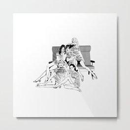 Vintage Girls White Metal Print