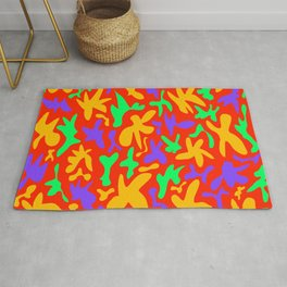 Abstract cute whimsical bright funny shapes on red background. Colorful retro stylish trendy design. Rug