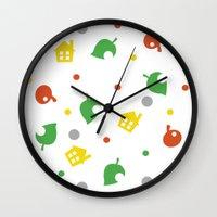 animal crossing Wall Clocks featuring Animal Crossing by Bradley Bailey