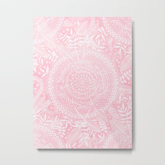 Medallion Pattern in Blush Pink Metal Print