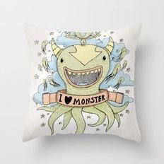 I love monster Throw Pillow