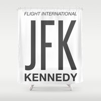jfk Shower Curtains featuring JFK TAG  by Studio Tesouro