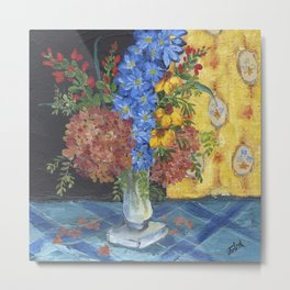 Mixed Flowers on Blue  Metal Print