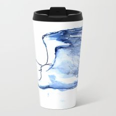 Heron in Indigo Metal Travel Mug