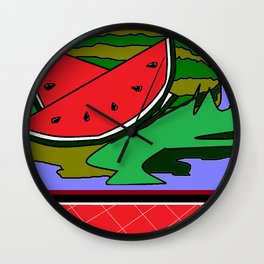 Watermelon with flower and red tile Wall Clock