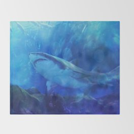 Make Way for the Great White Shark King  Throw Blanket