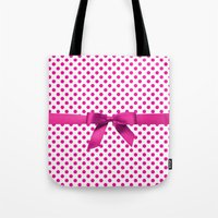 polkadot Tote Bags featuring Pink Polkadot - Ribbon by albert Junior