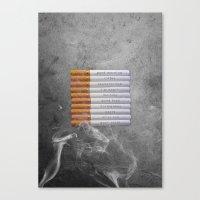 cigarettes Canvas Prints featuring Cigarettes by Marcelo Sazo