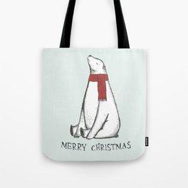 Sleepy Christmas Polar Bear Tote Bag