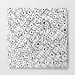 Hand Drawn Checkered Pattern with Stars and Flowers Metal Print