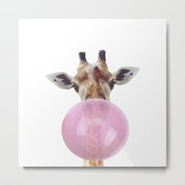 Bubble Gum - Giraffe Metal Print