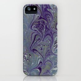 Purple, Blue, & Green Marbled iPhone Case