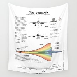 Concorde Supersonic Airliner Blueprint (white) Wall Tapestry