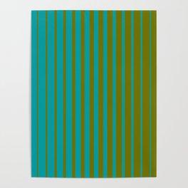 gradient stripes aqua olive Poster
