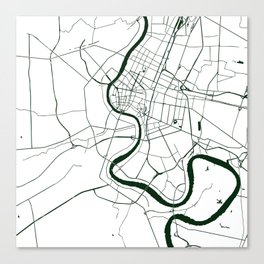 Bangkok Thailand Minimal Street Map - Forest Green and White Canvas Print