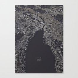 Zürich city map Canvas Print