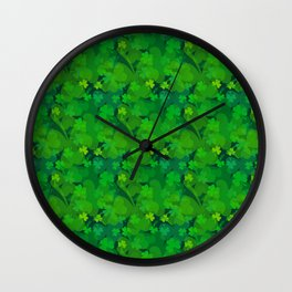 lucky Shamrock - Clovers All Over Wall Clock
