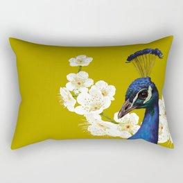 Peacocks and Cherry Blossoms Rectangular Pillow