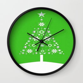 Christmas Tree Made Of Snowflakes On Green Background Wall Clock