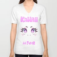 kawaii V-neck T-shirts featuring KAWAII by s3tok41b4