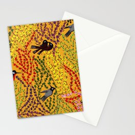 Hanging gardens, birds and flowers, kashmiri paper mache pattern Stationery Cards