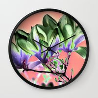 aelwen Wall Clocks featuring MAGNOLIA - PopArt by CAPTAINSILVA