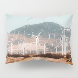 Wind turbine in the desert with mountain background at Kern County California USA Pillow Sham