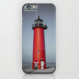 Kenosha Pierhead Light Selective Color Lake Michigan Lighthouse Wisconsin iPhone Case