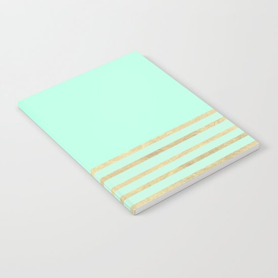 Mint and Gold stripes Notebook