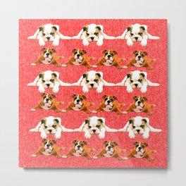 bulldog pattern iphone duvet cover Metal Print