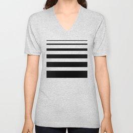 Stripes black Unisex V-Neck