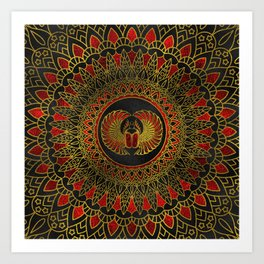 Egyptian Scarab Beetle - Gold and red  metallic Art Print