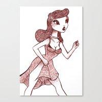 lichtenstein Canvas Prints featuring Lady Lichtenstein by McKenzie Davis