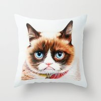 grumpy Throw Pillows featuring grumpy by AngelaArt