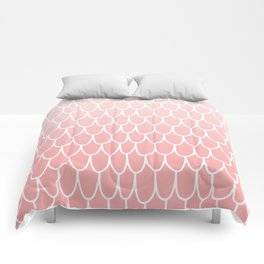 Pretty Mermaid Scales Pastel Pink and White Pattern for Girls Comforters