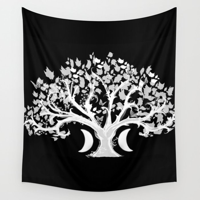 The Zen Tree - White on Black Wall Tapestry
