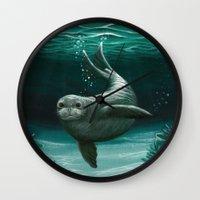 hawaiian Wall Clocks featuring Hawaiian Monk Seal ~ Acrylic by Amber Marine