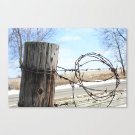 Fence Post and Barbed-Wire Canvas Print