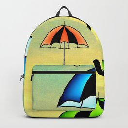 Colorful umbrellas flying in the sky Backpack