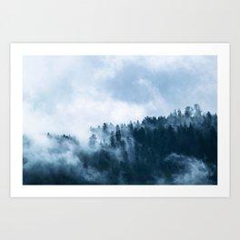 Fog Forest Winter Autumn Art Print