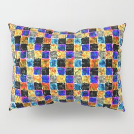 Black Yellow Gold and Blue Multicolored Patchwork Pillow Sham
